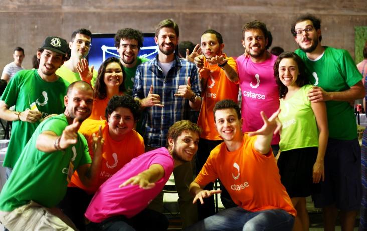 O arquiteto Márcio Sequeira com a equipe do Catarse no festival CoCidade em São Paulo