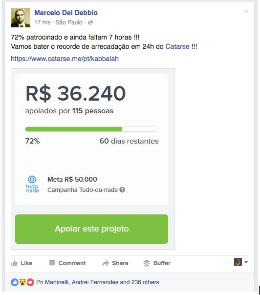 Convocação via Facebook para o público apoiar nas primeiras 24 horas