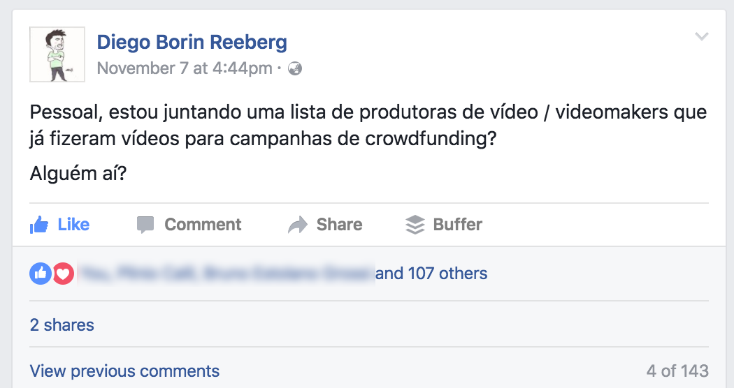 Post sobre rede de videomakers no Facebook