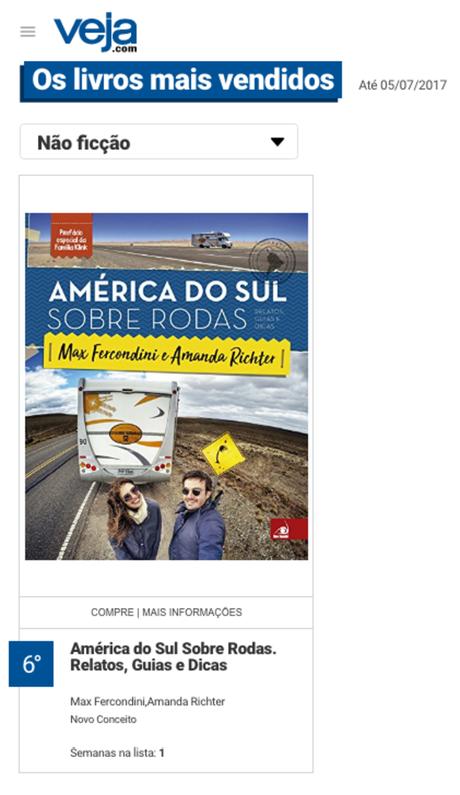 America do Sul SObre Rodas na lista de mais vendidos