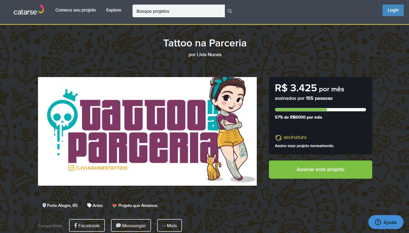Campanha da Castela Tattoo Shop no Catarse (Reprodução)