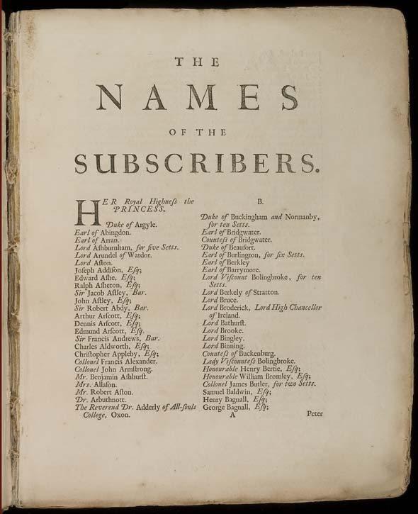Lista de apoiadores da tradução da Ilíada, por Alexander Pope, 6 vols. (1715-20)