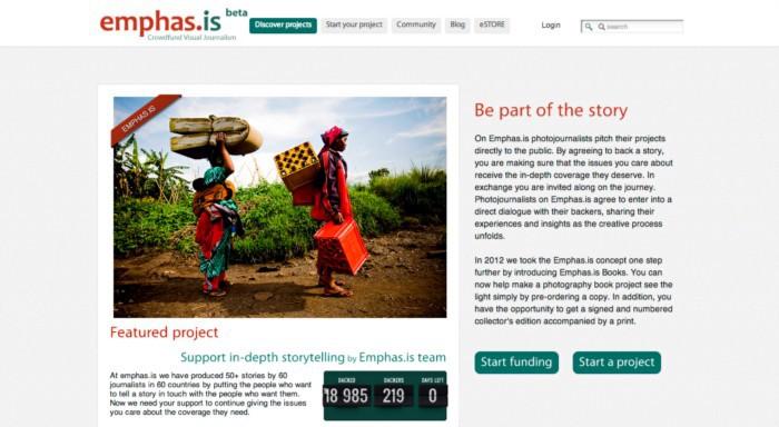 Imagem do site de financiamento coletivo Emphas.is, hoje fora do ar