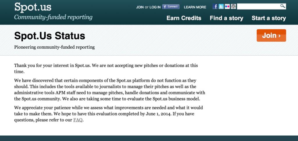 Status do site Spot.us