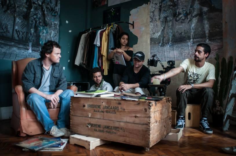 Matheus Nachtergaele, Tiago Vieira (o diretor), Dhyana Mattos, Rafael Farinas e Pablo Escajedo
